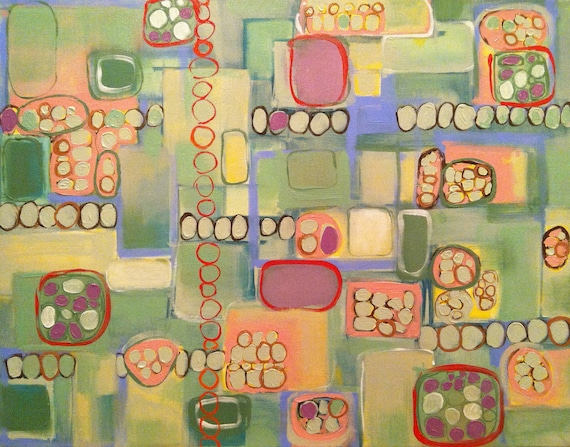 """Original Abstract Modern Art acrylic painting on stretched canvas 22""""x28"""" geometric pastel colors green blue violet pink red yellow beige"""