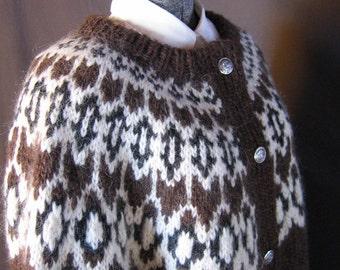 Handknit Womens, Brown Lopi Wool Cardigan Sweater, Size: Large