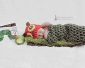 Very Hungry Caterpillar, Baby Cocoon, Hat and Cocoon, Book Worm Cocoon, Crochet Cocoon Set, Newborn to 3 months, Photo Prop
