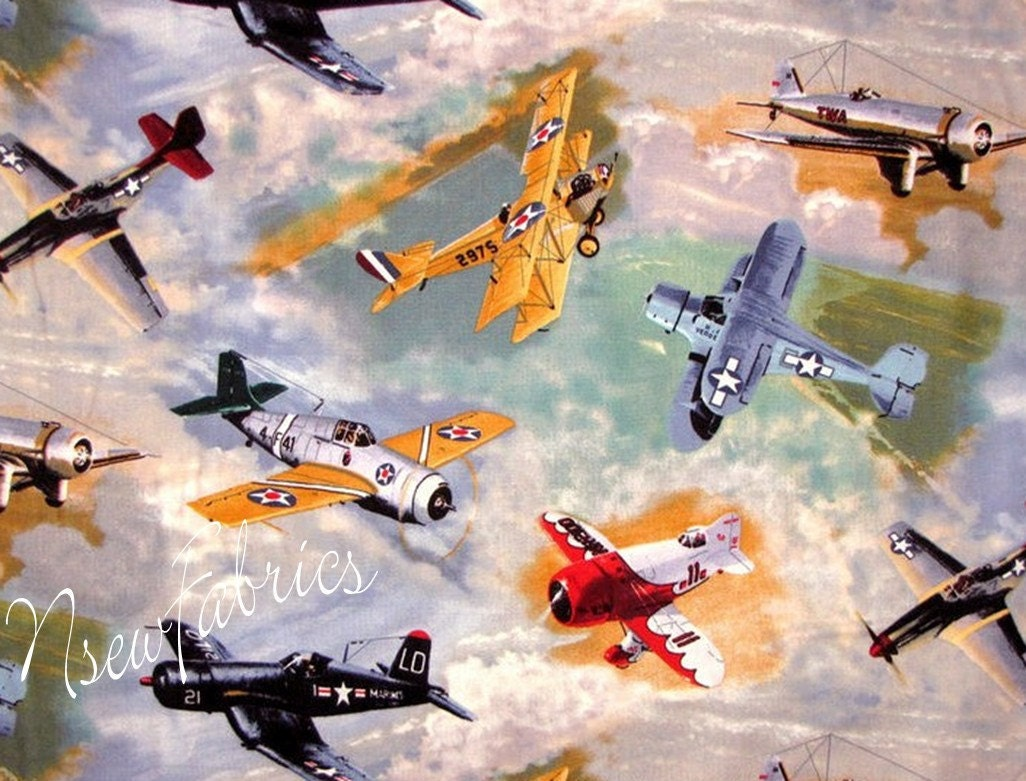 Vintage Air Plane Airplane Fabric Wwii Fighter By Nsewfabrics