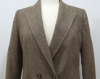 Womens Wool Suit Vintage Taupe Two Piece Suit - M