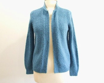 Vintage Cardigan Sweater with Open Front in Blue- L