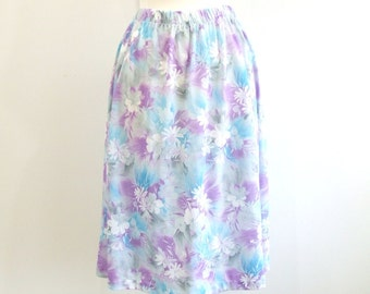 Plus Size Skirt Vintage Floral Knit Skirt - 1X / 2X