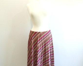 1970s Pleated Skirt Vintage 70s Pink Striped Midi Skirt - M/L