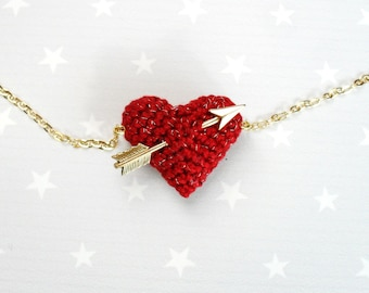 Valentines Necklace crochet red heart and gold arrow..