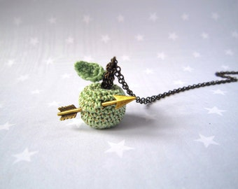 Unusual Necklace crochet green Apple and arrow on a brass chain...