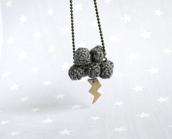 "Christmas necklace with cloud and lightning- ""little storm""-gray crochet cloud"
