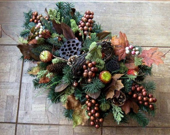 """Copper, brown, gold silk Christmas/holiday centerpiece, """"Under the Winter Tuscan Sun """" sweet sugared fruits of the vineyard & orchard"""