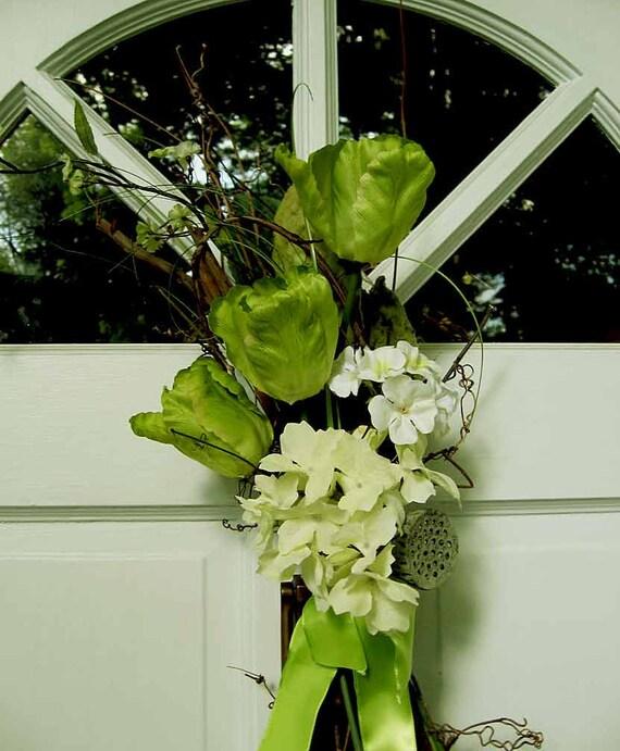 Fresh greens and whites, hydrangea & tulips door wreath swag or wedding bouquet, year-round flowers,  door decor or wedding pew spray