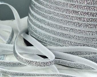 Elastic Headbands Glitter 1/4 inch - 6mm Silver Metallic on White  Shiny Elastic Thin Headbands