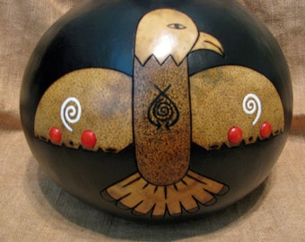 Spirit of the East Kachina , Eagle Kachina , Gourd Kachina , Eagle Art , Four Directions Art , Pyrography , Handmade Art , OOAK