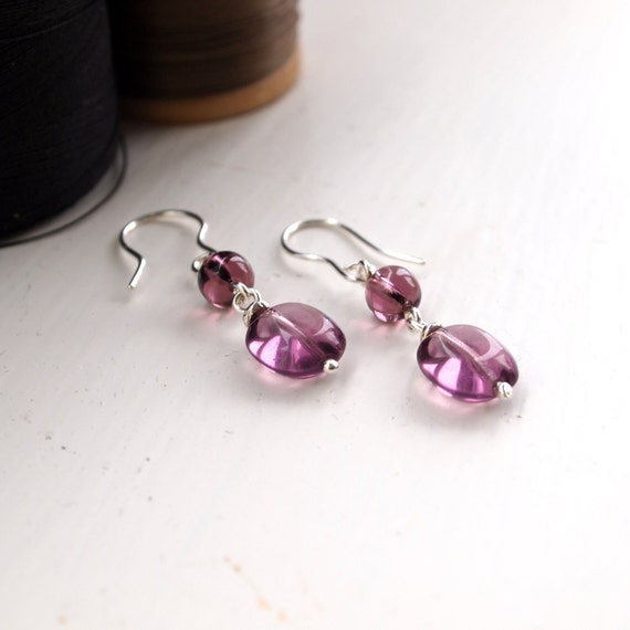 Purple Sterling Silver Dropper Earrings. Amethyst Glass Silver Drop Earrings, Handmade Silver Earrings. Purple Jewellery