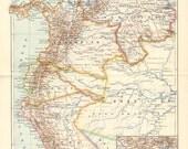 1896 Original Antique Map of Peru, Ecuador, Colombia and Venezuela at the End of the 19th Century
