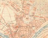 1894 Antique City Map of Dresden, German Empire