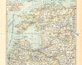 1898 Original Antique Dated Map of the Baltic or Ostsee Governorates of the Russian Empire - Estonia, Livonia and Courland