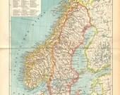 1897 Original Antique Map of the Scandinavian Peninsula, Sweden and Norway