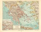 1903 Original Antique Map of the Kingdom of Greece