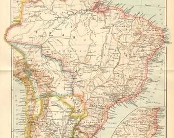 1895 Original Antique Dated Political Map of Brazil, Bolivia, Uruguay and Paraguay at the End of the 19th Century