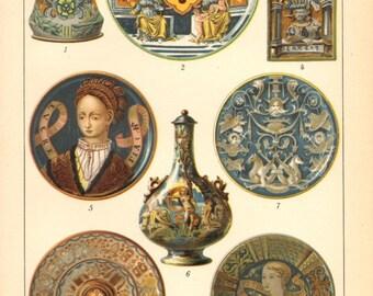 1894 Maiolica or Majolica Art, Tin-glazed Pottery, Faience, Stoneware Original Antique Chromolithograph to Frame