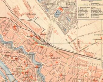 1893 Original Antique City Map of Bremen