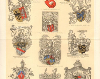 1895 History and Developement of Heraldry Original Antique Chromolithograph