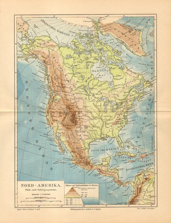 1886 Original Antique Dated Relief Map of North America