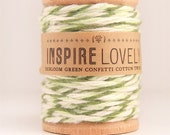 As seen in Country Living - 10 yards Heirloom Green Confetti Cotton Twine hand wound on a wooden spool