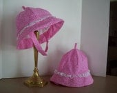 Infant Toddler Sunhat with Brim & Chin Strap in Pink Floral Print and Eyelet Lace Trim, Clearance Sale