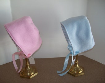 Winter bonnets, Fleece with Flannel Lining, Reversible, Newborn Size Only, Pink or Blue , Clearance Sale