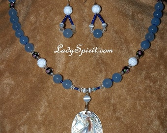 Hand Carved Horse Cameo with Aquamarine-Necklace Set