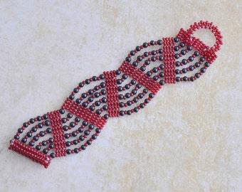 Beadwoven Cuff Bracelet in black and garnet