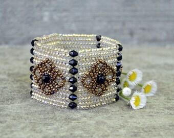 Handwoven Herringbone Cuff Bracelet