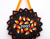 Candy Corn Sweet Treats - Wall Decor Halloween Holiday Wreath