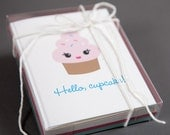 Set of 12 cupcake note cards : blank A2 greeting card gift box