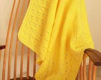 Yellow Baby Blanket, Hand Knit Blanket, Baby Afghan, Infant Blanket, Shower Gift, Lap Blanket, Crib Blanket