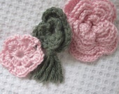 CLEARANCE Set of 3 pretty Crochet Applique Flowers, Supply Items for Repurposing, Ready to be Used for Brooch, Purse, Headband, Etc