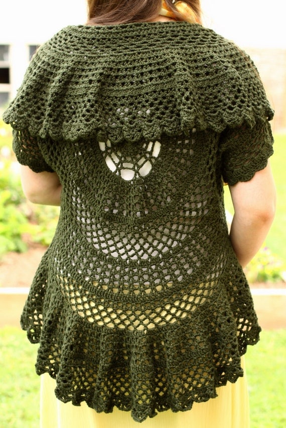 Knitting In The Round Sweater Patterns Free : Pattern PDF for Crochet Circle Sweater Lace by JoysinStitches