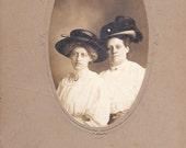 Edwardian Ladies in Hats- St. Brigid's Cross- 1900s Vintage Cabinet Photograph