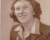 Love, Milly- Studio Portrait- Woman in Sepia- 1940s Vintage Photograph