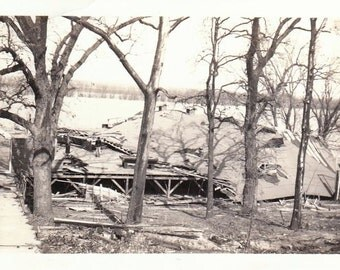 What's Left of the Dance Hall- 1920s Antique Photograph-Tornado Aftermath- Disaster Photo- Storm Damage- Severe Weather- Paper Ephemera