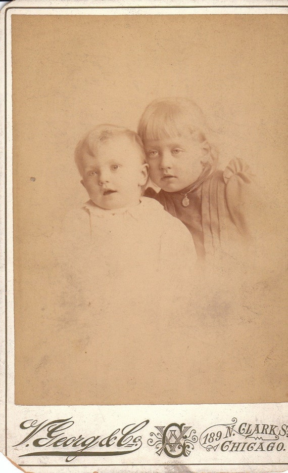 Brother and Sister- George's Crystal Palace- 1800s Vintage Cabinet Photograph