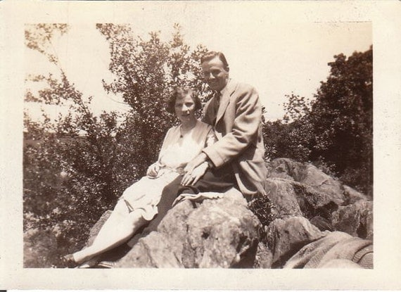 A Rest on the Rocks- Couple on Nature Walk- 1920s Vintage Photograph