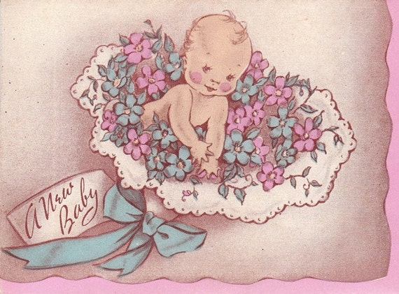 New Baby- Announcement- SET of 4- 1940s Vintage Photographs and Card