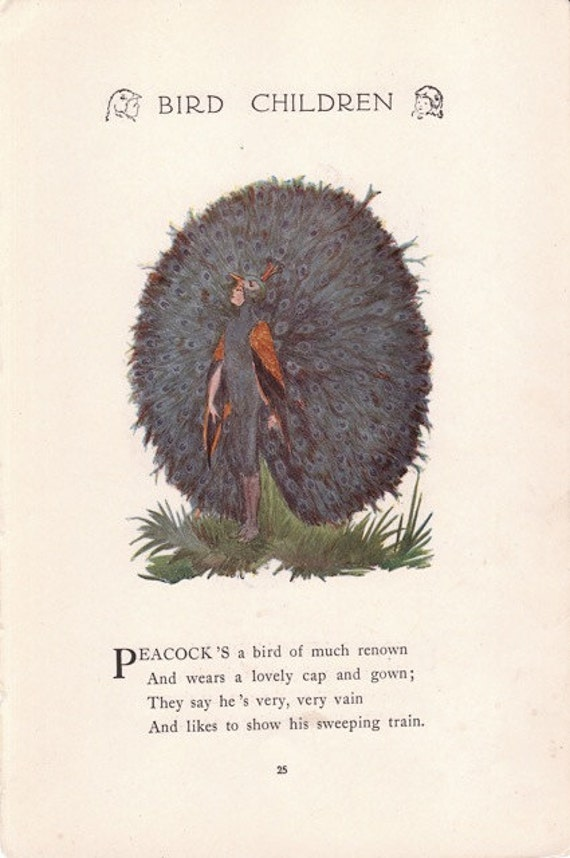 Nightingale- Peacock- 1910s Antique Print- Elizabeth Gordon Artwork- Bird Children Book Illustration- Edwardian Decor- Paper Ephemera
