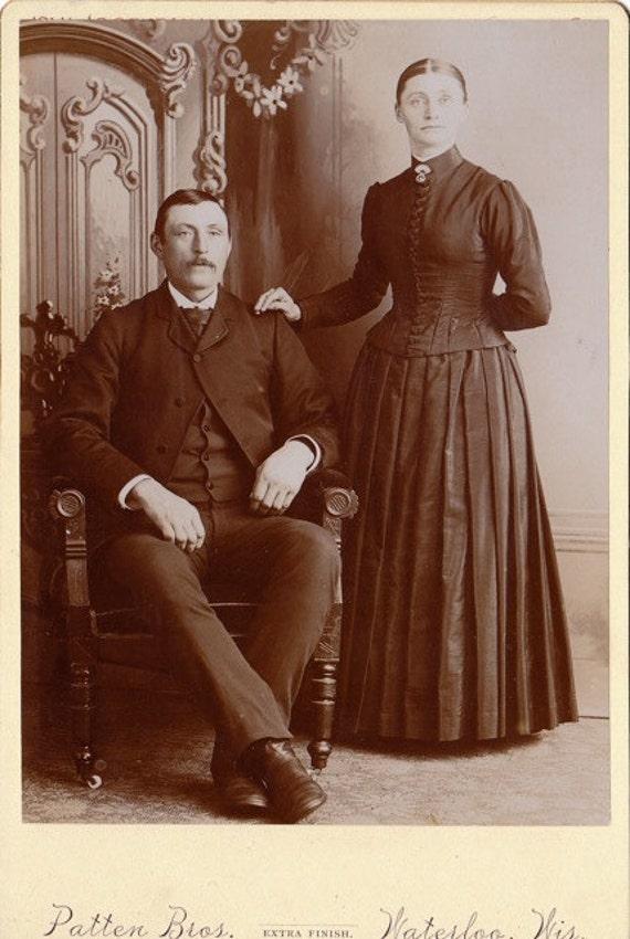 betrothed victorian couple sepia portrait 1800s vintage
