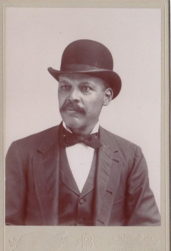 African American Gentleman- Mustache & Bowler Hat- Victorian Portrait- 1800s Vintage Cabinet Photograph