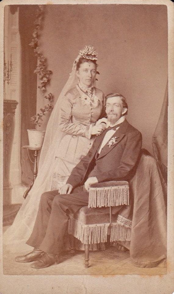 Victorian Bride and Groom- 1800s Vintage Photograph- CDV