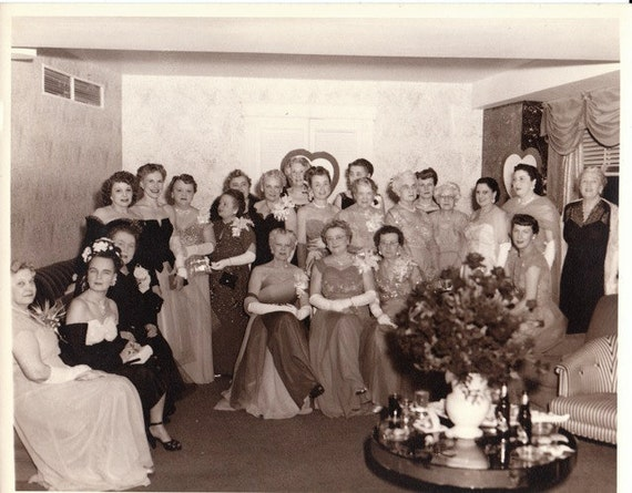 Ladies at St. Valentine's Day Ball- 1950s Vintage Photograph- 10 x 8