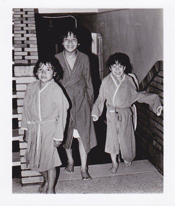 Fresh From the Pool- Chidren in Robes- 1960s Vintage Photograph