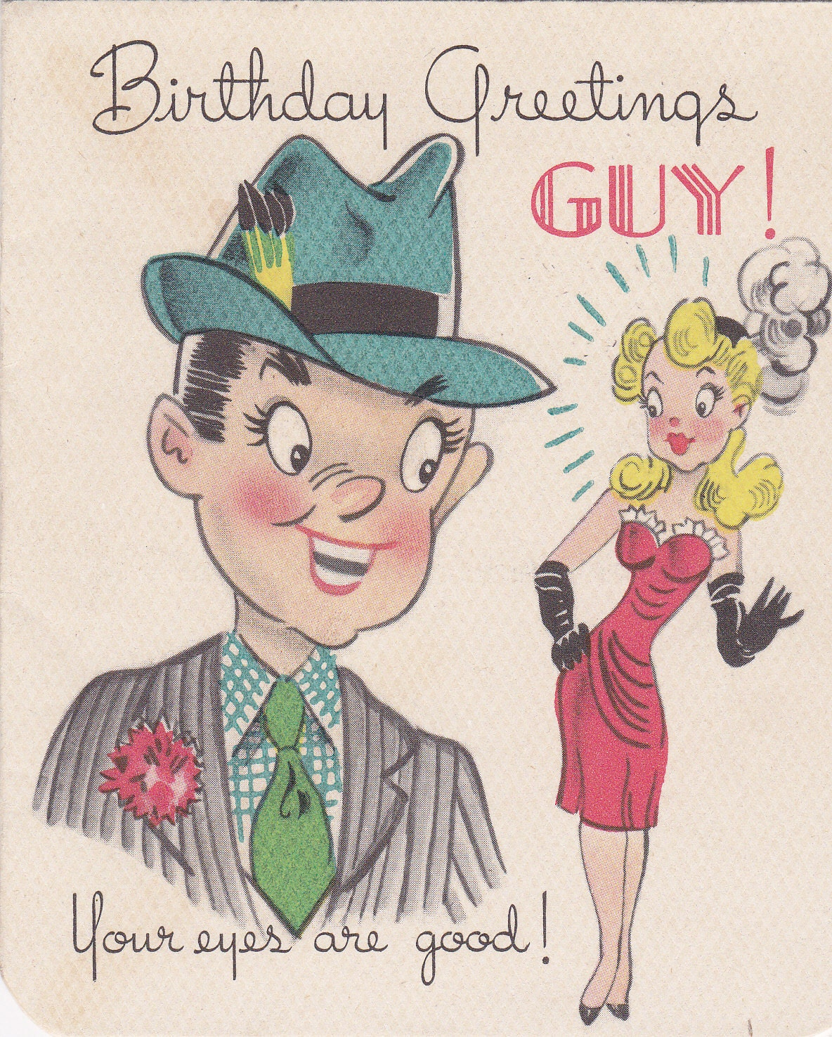Birthday Greetings Guy Ladies' Man 1940s Vintage Gibson
